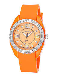 Skone® Women's Luminous Hand Rhinestone Silver Case Silicone Strap Quartz Watches with Buckle Clasp Cool Watches Unique Watches
