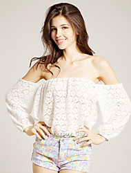 Women's Lace White Vest , Strapless ¾ Sleeve