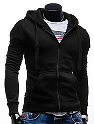 Alan  Men's Hoodie Solid Color Zipper Overcoat