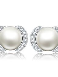 Damen Ohrring Sterlingsilber Perle Stud Earrings
