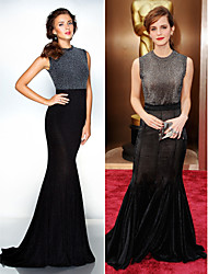 TS Couture Formal Evening Dress - Black Plus Sizes / Petite Trumpet/Mermaid Jewel Sweep/Brush Train Jersey