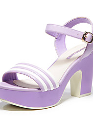 Aokang® Women's Stripe Platform Chunky Heel Sandals (purple)