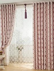 Two Panels European  Elegant Fashion High-Grade Flax Chenille Jacquard Curtains