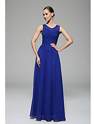 Floor-length Chiffon Bridesmaid Dress - A-line Scoop with Draping / Side Draping