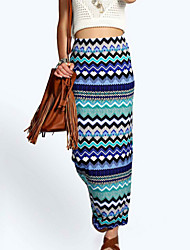 Women's  Sell Well Floor-length Pencil Skirt Print Multi-color Skirts , Bodycon / Print Maxi