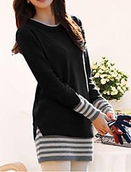 Damen Lang Pullover-Lässig/Alltäglich Einfach Anspruchsvoll Gestreift Rot Schwarz Orange Rundhalsausschnitt Langarm Baumwolle Herbst