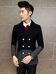 Men's Long Sleeve Regular Coat , Others / Tweed Pure