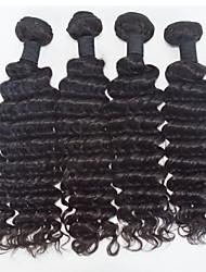 4pcs / lot cru onda preto euro-asiáticos cabelo virgem onda profunda extensões de cabelo humano cabelo natural 8 '' - 30 '' cabelo tecem