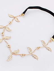 Women's Elegant Gold Leaf Elastic Hair Band Hair Rope
