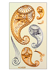 Taty Flash Tattoo Removable Waterproof Gold Tattoo Metallic Temporary Tattoo Stickers Temporary Body Art Tatoo HC5028