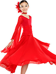 Ballroom Dance Dresses Children's Performance Chiffon / Milk Fiber Draped 2 Pieces Black / Red / White