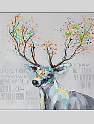 Peint à la main Animal / FantaisieModern Un Panneau Toile Peinture à l'huile Hang-peint For Décoration d'intérieur