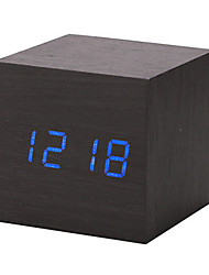 Новый современный деревянный древесина календарь цифровой привело стол будильник термометр таймер