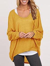 U-hals - Katoen / Breigoed / Polyester / Katoenmixen - Met ruches - Vrouwen - T-shirt - Lange mouw