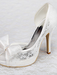 Women's Shoes Satin Spring / Summer / Fall Heels / Platform Wedding / Dress / Party & Evening Stiletto Heel Bowknot White