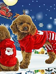 Coats / Hoodies / Pants for Dogs / Cats Red Winter Christmas / New Year's XS / S / M / L / XL / XXL Nylon