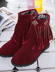 Women's Shoes Nylon / Low Heel Wedges / Snow Boots / Comfort / Round Toe Boots Casual Black / Red