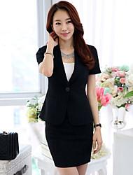 Women's Solid Black Blazer , Work Asymmetrical Short Sleeve