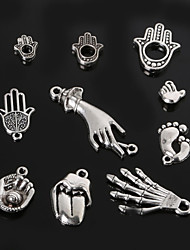 Beadia Metal Hand & Feet & Mouth Charm Pendants Antique Silver Plated DIY Jewelry Accessories