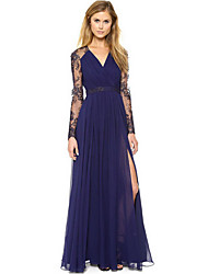 Women's Patchwork Blue Dresses , Vintage / Party V-Neck Long Sleeve