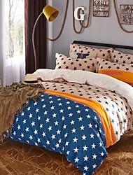 Brown Stars Cotton Bedding Set Of 4pcs Four Seasons Use