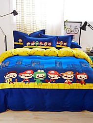 Mingjie® Bedding Sets 4pcs Queen Size adn King Size Boys and Girls Korean Niget City Blue and Yellow China Wholesale