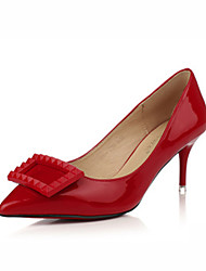 Women's Shoes Leatherette Stiletto Heel Heels /Closed Toe Heels Outdoor / Office & Career / Casual Black / Red / Gray
