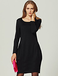 Women's Solid Black Dress , Casual Round Neck Long Sleeve