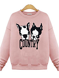 Women's Dog Character / Letter Print Hoodies , Casual / Cute Round Neck Long Sleeve