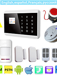 ios android app lcd smart touch GSM PSTN sms voce sicurezza domestica sistema wireless antifurto wireless con rilevatore di fumo