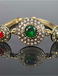 Emerald Glass Crystal Gemstone Bracelet