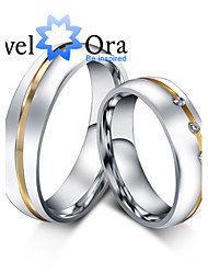 Ring Fashion Party Jewelry Cubic Zirconia / Steel Women Band Rings 1pc,One Size Gold