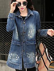 Winni Women's Solid Color Blue Coats & Jackets , Casual Shirt Collar Long Sleeve