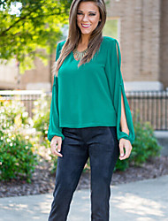 Women's Solid Green T-shirt , V Neck Long Sleeve