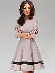 Women's Vintage Sexy/Beach/Casual/Party/Work Micro-elastic ½ Length Sleeve Above Knee Dress