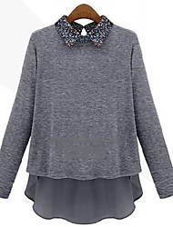 Quior Women's Solid Color Blue / Gray Casual Shirts , Casual Shirt Collar Long Sleeve