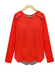 Ronde hals - Katoen - Knoop / Gelaagd - Vrouwen - T-shirt - Lange mouw