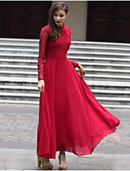 Women's Solid Color Red Dresses , Casual / Party Round Long Sleeve
