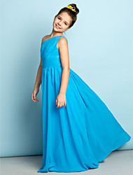 Lanting Bride Floor-length Chiffon Junior Bridesmaid Dress - Mini Me A-line One Shoulder with Crystal Detailing / Side Draping