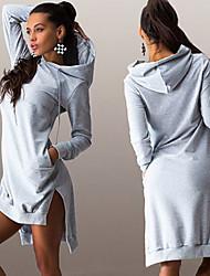 ER Women's Solid Color Blue / Black / Gray Dresses , Casual / Work Hoodie Long Sleeve