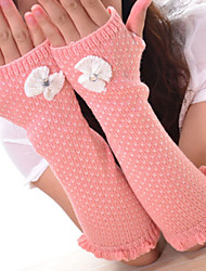 Women Flower Knitwear Fingerless Warm Long Gloves , Casual / Cute