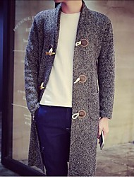 Men's Long Sleeve Long Coat , Cotton Pure