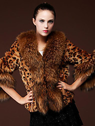 Women's Animal Multi-color Coats & Jackets , Casual / Party V-Neck Long Sleeve Copy the fox fur fur coat Plus size