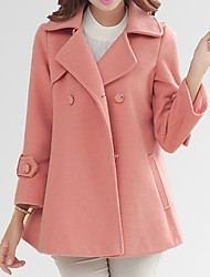 Rioss Women's Solid Color Pink / Red / Black Coats & Jackets , Casual Tailored Collar Long Sleeve