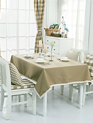 Light Brown Solid Lacy  Design  Jacquard  Tablecloths Fabric Tea Tablecloth