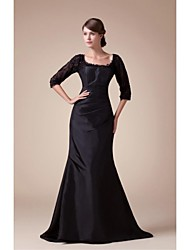 A-line Mother of the Bride Dress - Black Court Train Taffeta