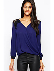 DUIQI Women's Patchwork Blue Tops & Blouses , Vintage / Sexy / Party / Work V-Neck Long Sleeve