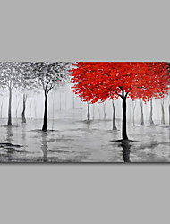 Hand-Painted Oil Painting on Canvas Wall Art Abstract Contempory Trees Forest Grey One Panel Ready to Hang