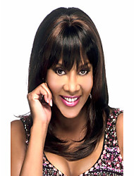 Fashion Hair Long Straight Synthetic Full Bang Wigs Top Quality