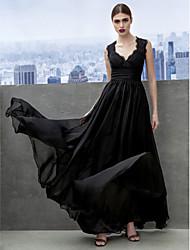 Corte en A Escote Corazón Hasta el Suelo Raso Evento Formal Gala de Etiqueta Vestido con Encaje En Cruz por TS Couture®